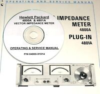 Hewlett Packard Ops & Service Manual For 4800a Impedance Meter & 4801a Plug-in