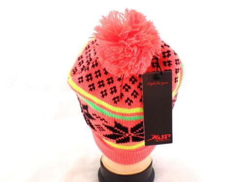 Mütze Strick Neon Orange mit Umschlag /& Bommel
