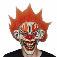 Orange Evil Scary Clown Mask With Attached Wig Adult Costume Accessory