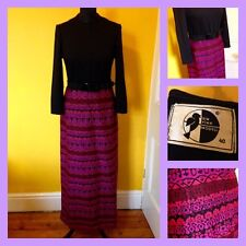 Vintage 60's 70's Ein Fink Modell Psychedelic Maxi Dress UK 10 Mod Carnaby