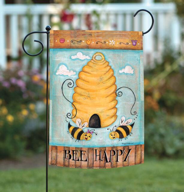 Toland Bee Happy 12.5 x 18 Cute Beehive Flight Cloud Flower Garden Flag