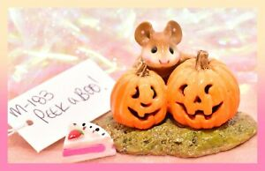 ❤️Wee Forest Folk M-183 Peek-A-Boo! Halloween Fall Pumpkin Retired Mouse WFF❤️