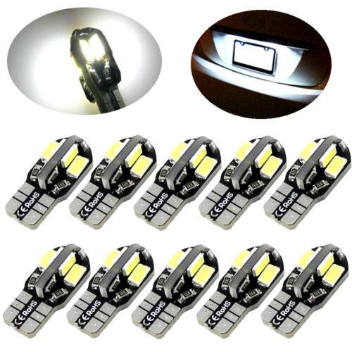 10PCS SMD Error Free T10 White 8 5730 LED Car Side Wedge Light Lamp Bulbs Canbus