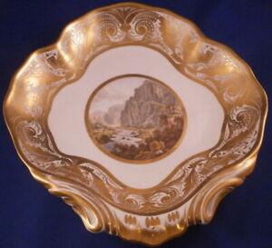 Antique-1810-Derby-Porcelain-Scenic-Dessert-Dish-Porzellan-Schale-English-2