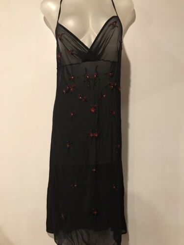VIVIENNE TAM sheer mesh floral beaded embroidered