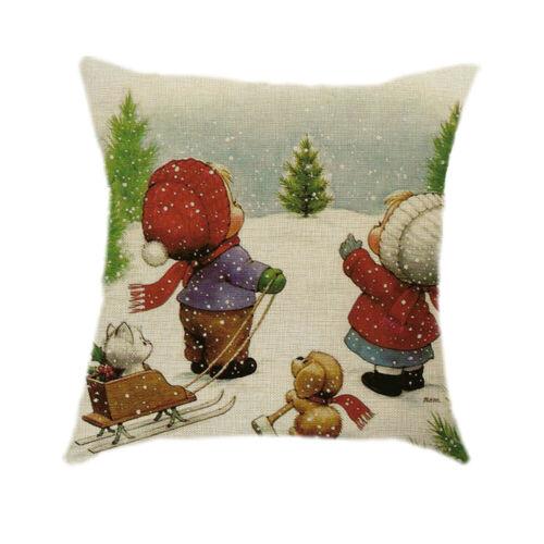 """18/"""" Merry Christmas snowman Cotton Linen Cushion Cover Pillow case Home Decor"""