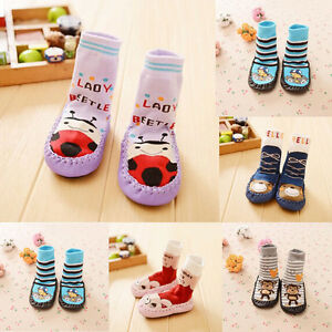 92c7a4630a06 Winter Warm Baby Kids Toddler Non-Slip Socks Moccasin Sleepers Shoes ...