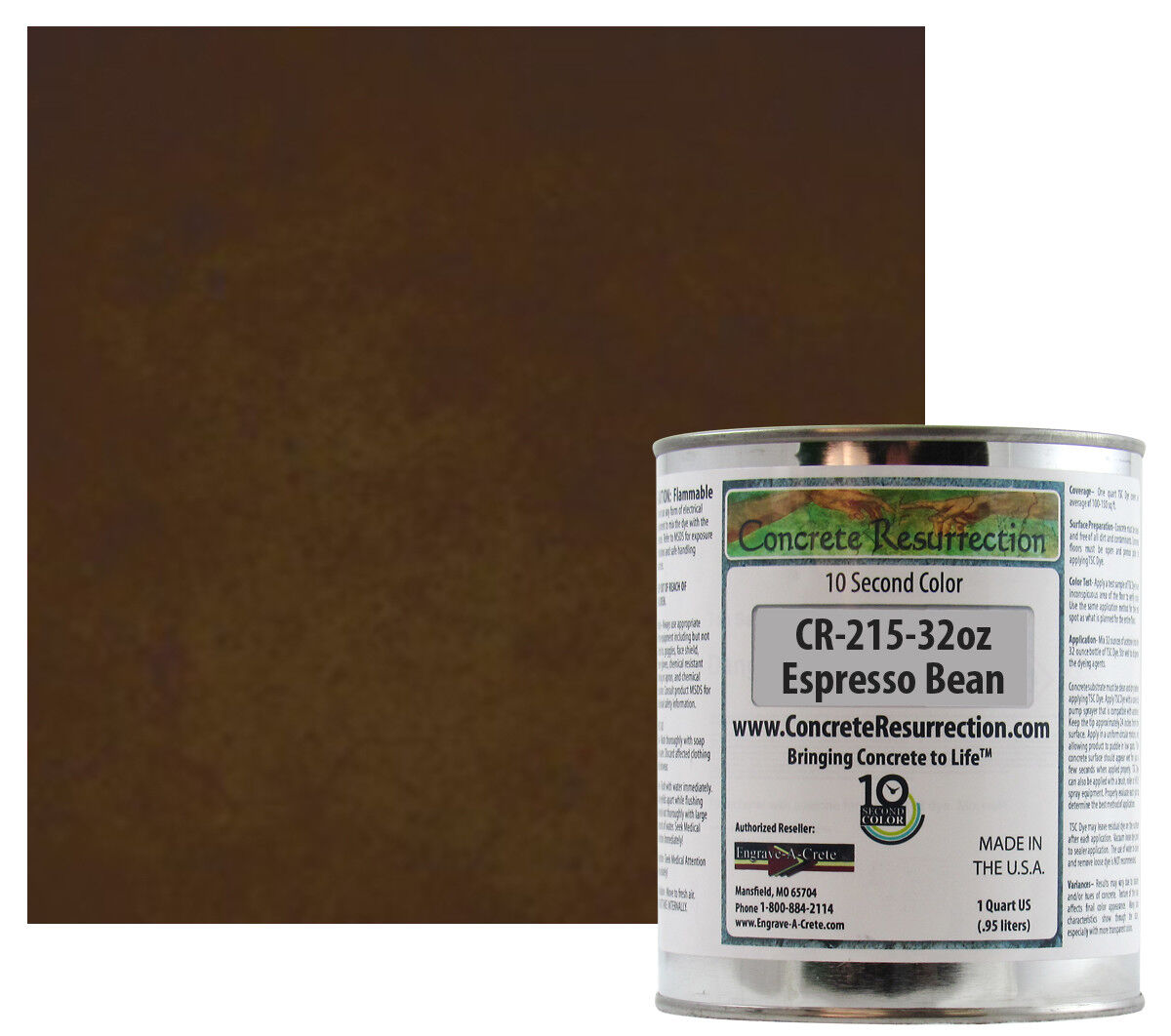 Fast Drying Concrete Stain-Professional-Easy to Use 100-150sq ft Espresso Bean
