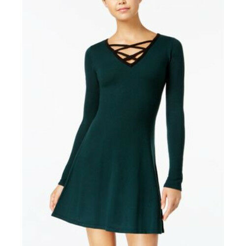 40548427c BCX Juniors Contrast Lace-up Sweater Dress Tunic Green L for sale online |  eBay