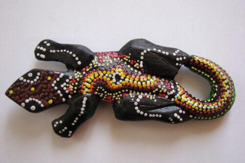 Wooden Hand Painted Fridge Aboriginal Gecko Lizard Magnet
