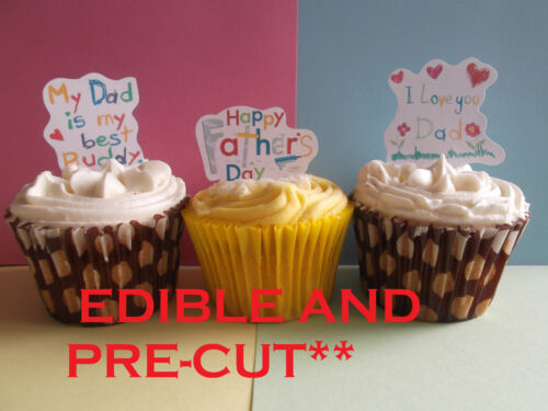 fathers day dad x24 edible stand up cup cake toppers wafer *pre-cut available