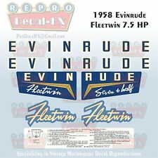 1958 Evinrude 7.5 HP Fleetwin Outboard Reproduction 7 Pc Marine Vinyl Decals
