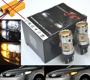 Canbus-LED-Switchback-Light-White-Amber-7443-Two-Bulb-Front-Turn-Signal-No-Error