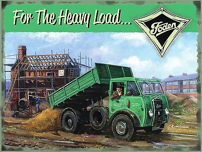 Foden Truck Lorry Wagon Tipper Vintage Garage Old Small Metal/Tin Sign, Picture