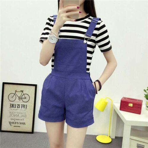 Women Suspender Casual Trousers Shorts Pants Denim Overalls Jumpsuits Playsui G*
