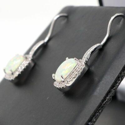 Antique Princess Green Opal Earrings Nickel Free Jewelry Gift 14K White Gold