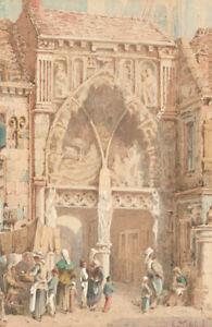 A-Cardinal-19th-Century-Watercolour-Continental-Market-Scene