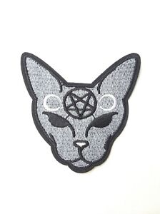 Pentacle-Cat-Pentagram-Kitty-Iron-On-Embroidered-Patch-Goth-Wicca-Moon-Witchy