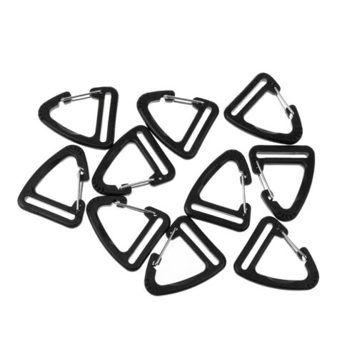 10x Plastic Buckle Climbing Carabiner Hanging Keychain Hook For Webbing 25mm