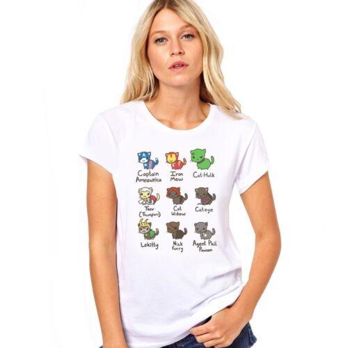 Katze Avengers Iron Man Marvel Captain America Comic Damen T-Shirt Top