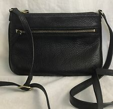 TALBOTS ZIP TOP SMALL CROSSBODY BAG PURSE BLACK PEBBLED LEATHER