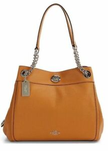 297747407806 Coach Turnlock Edie Pebble Leather Shoulder Bag Saddle 36855 for ...