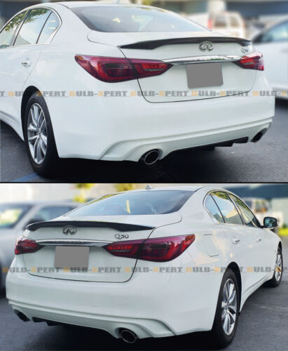 FOR 2014-2020 INFINITI Q50 OE STYLE PAINTED GLOSSY BLACK TRUNK LID SPOILER WING