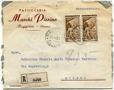 1951 Italia al Lavoro RACCOMANDATA Pasticceria Macchi Pierino Maggiora Novara