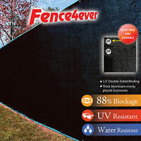 8' Tall X 50' 8ft Black Fence Screen Cover Mesh Windscreen Privacy Outdoor W/zip