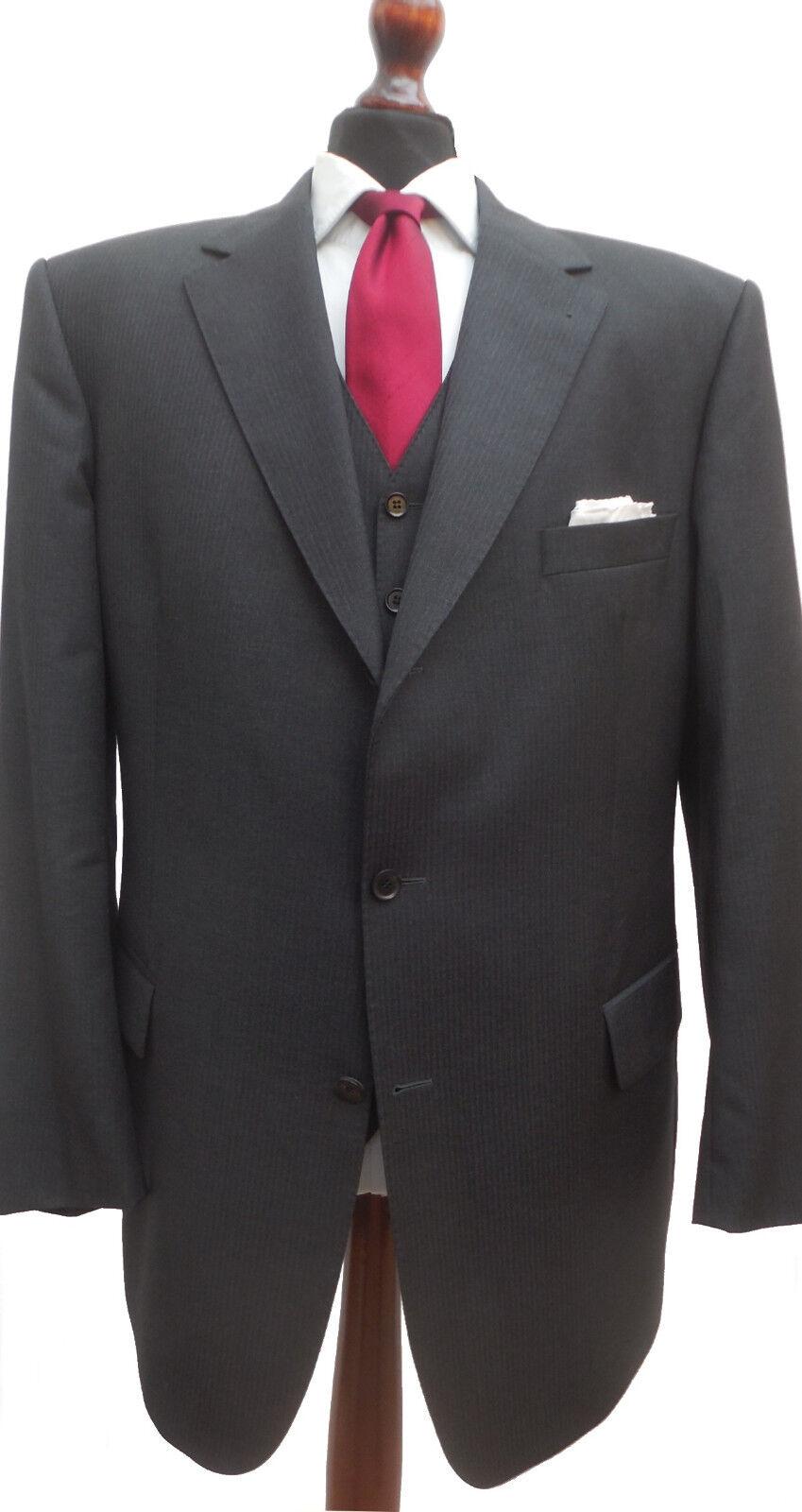 EDUARD DRESSLER Anzug + WESTE Gr. 58 Dreiteiler Super 100's dunkelgrau