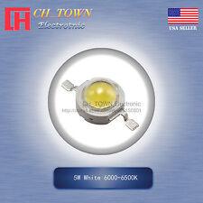 5Pcs 5W Watt High Power White 6000-6500k LED Diodes Lamp Beads Bulb Chip
