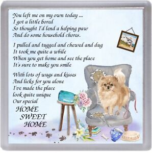 Pomeranian-Dog-Coaster-034-HOME-SWEET-HOME-Poem-034-Novelty-Gift-by-Starprint