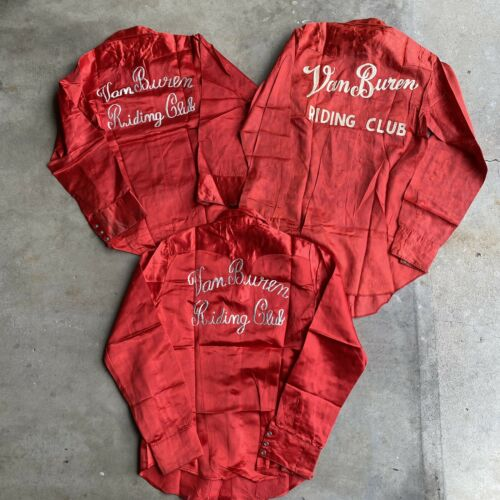 RARE 1950s Chainstitched Riding Club Satin Shirts