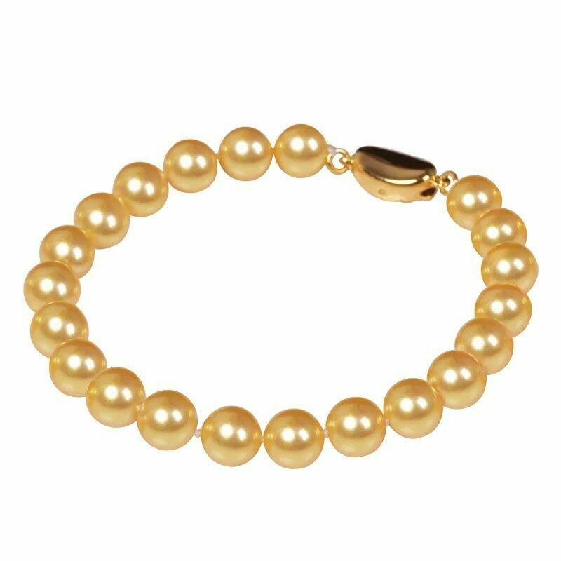 Gorgeous 12-13mm south sea round gold pearl bracelet 7.5-8