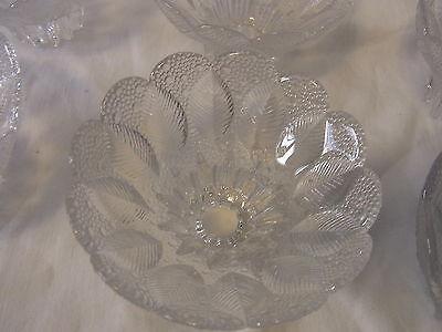 Mid Century 60´s  6 Ice Glass Flower Bowl Finger Food Dessert Set  #<