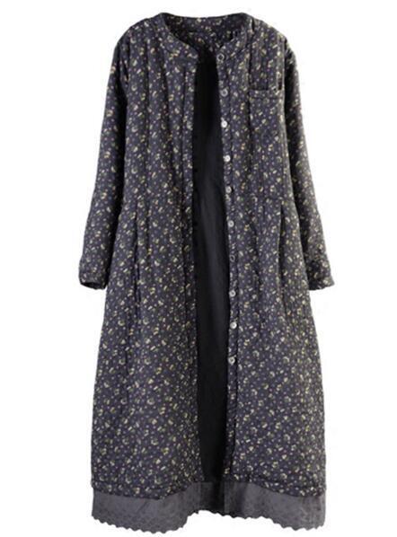 Vintage Womens Floral Linen Cotton Over Knee Long Parka Winter Warm Outwear Coat