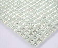 Mosaico in vetro mosaico 15x15mm 8mm Piastrelle STRASS 30x30cm ARGENTO METAL Tappezzeria bo2