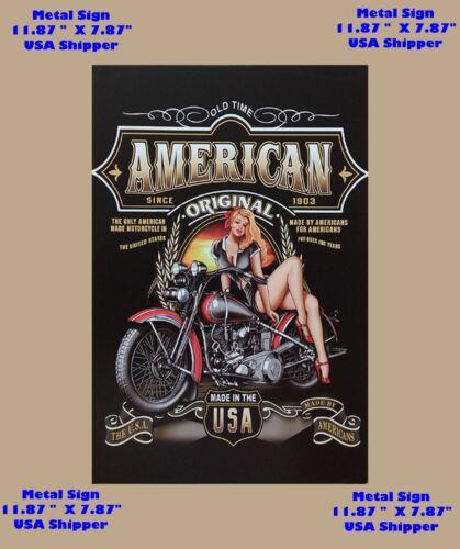 1903 Harley Davidson Motorcycle Tin Metal Man Cave Sign Pinup Girl Garage DECOR