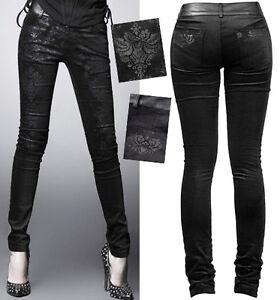 Pantalon-jeans-gothique-lolita-baroque-destroy-jacquard-vieilli-fashion-PunkRave