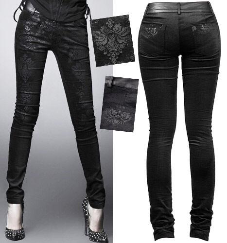 Pantalon jeans gothique lolita baroque motifs jacquard vieilli fashion PunkRave