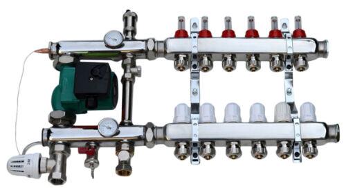 Festwertregelset für Fußbodenheizung aus Edelstahl Heizkreisverteiler 3-10-fach