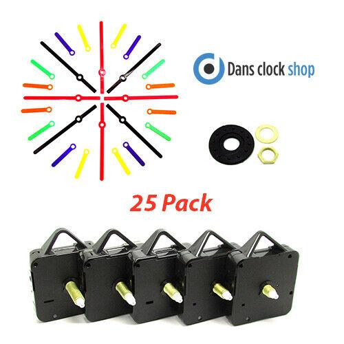 25 Stk. Quartz Uhrwerk Mechanismus Motor & Farbig Hände Fassungen Restposten Das Ganze System StäRken Und StäRken
