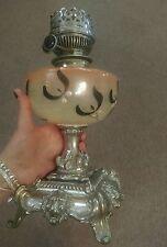 Antique victorian mistletoe glass & french lion head base oil lamp light