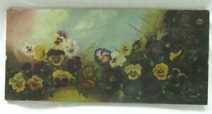 "BIG 26"" ANTIQUE OIL PAINTING STILL LIFE FLORAL PANSEY VICTORIAN COUNTRY FOLK ART"