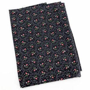 Vintage-Rosebud-Floral-Print-Fabric-Cotton-Novelty-Rose-Black-Calico-1-yd-x-44-034