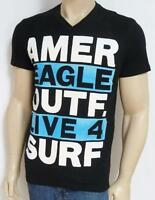 American Eagle Outfitters Live 4 Surf Mens Black V-neck T-shirt