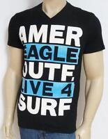 American Eagle Outfitters Live 4 Surf Mens Black V-neck T-shirt