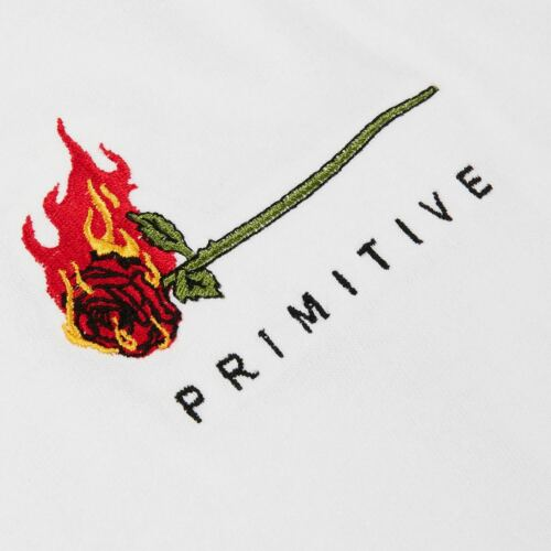 Primitive BURNING TEE White Embroidered Heartbreakers Club S//S Men/'s T-Shirt