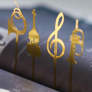 Милый золотой музыкальный инструмент металл книга маркер закладка Скрепка канцелярские принадлежности