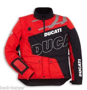 DUCATI-Scott-Enduro-Chaqueta-Textil-Tex-Chaqueta-Exterior-Negro-Rojo-NUEVO